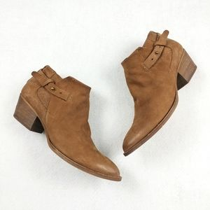 Dolce Vita Leather Perf Buckle Ankle Booties Sz 10
